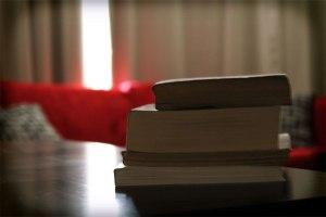 Los textos en proceso y atrás el sofá para la lectura.