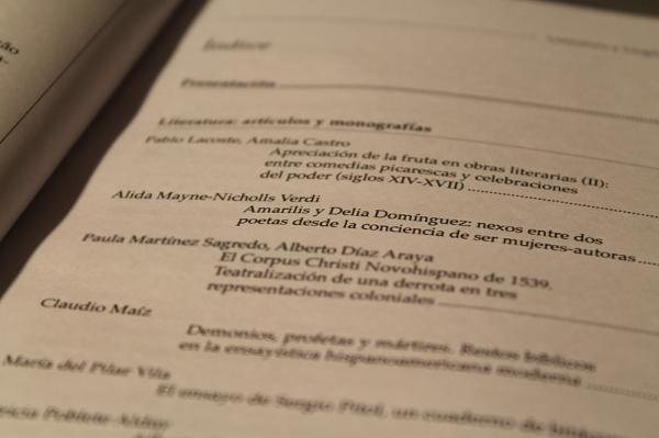 El índice de la revista Literatura y Lingüística.