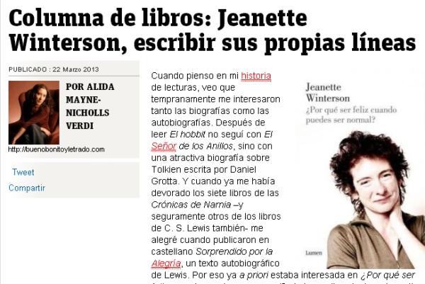 Pantallazo de la primera columna sobre Jeanette Winterson y su libro ¿Por qué ser feliz cuando puedes ser normal?