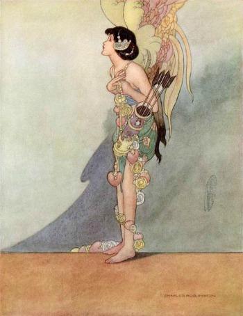 Una ilustración de Charles Robinson para EL Ruiseñor y la Rosa.